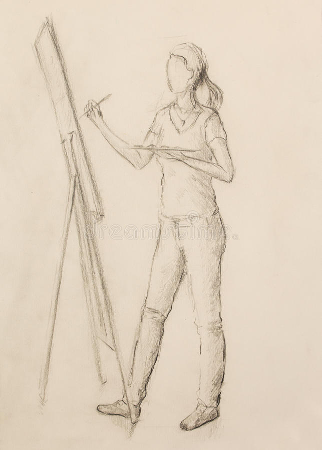 Pintor de dibujo de la mujer joven que sostiene la paleta con las pinturas de aceite y que la pinta en lona en estudio del arte stock de ilustración