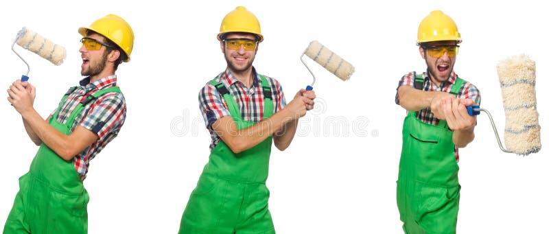 Pintor de sexo masculino con el casco aislado en blanco imagen de archivo