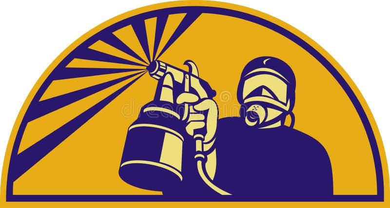 Pintor del aerosol con el arma de aerosol stock de ilustración
