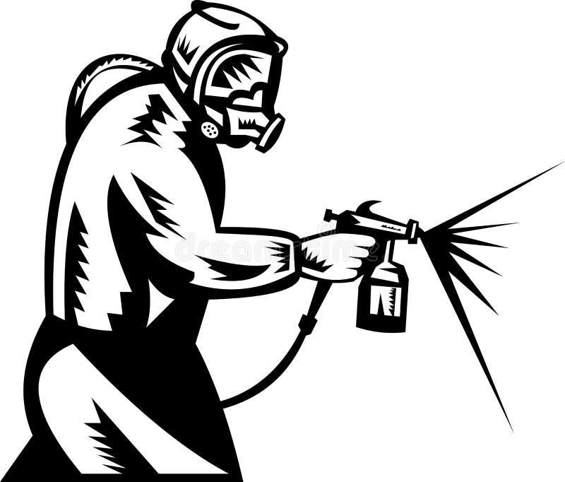 Pintor del aerosol en el trabajo stock de ilustración