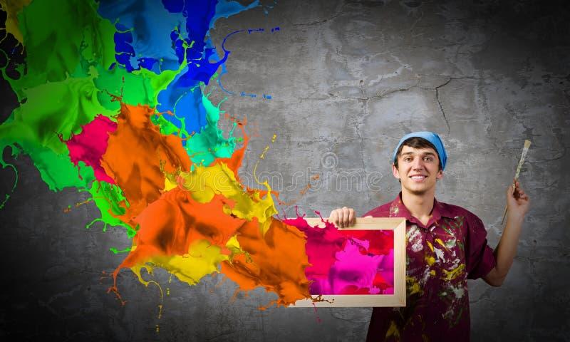 Download Pintor del hombre foto de archivo. Imagen de idea, marco - 41901528