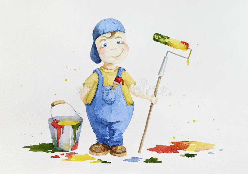 Pintor del niño que hace el trabajo adulto con un rodillo y una brocha stock de ilustración