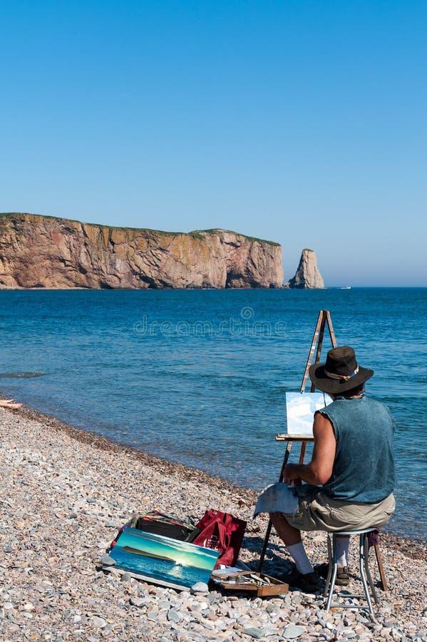 Pintor del paisaje en Perce fotos de archivo