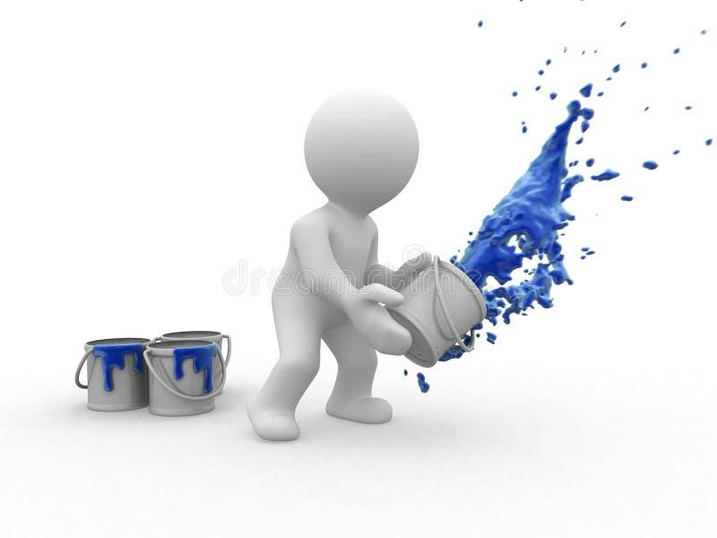 pintor do azul 3d ilustração do vetor