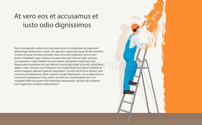 Pintor do decorador do homem que pinta uma parede da cor Conceito do processo ilustração do vetor