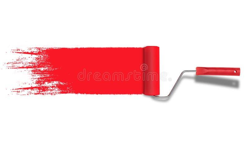 Pintor do rolo com o curso vermelho da pintura isolado no fundo branco imagens de stock