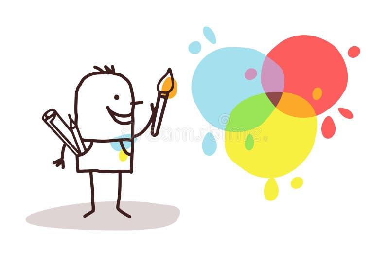 Pintor e cores do artista ilustração stock