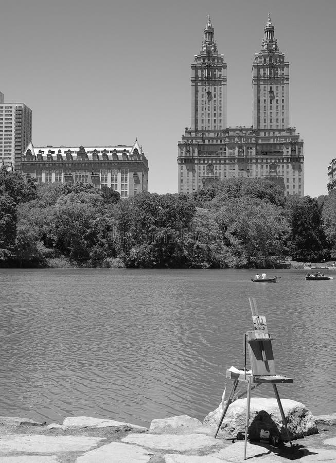 Pintor em Central Park imagens de stock