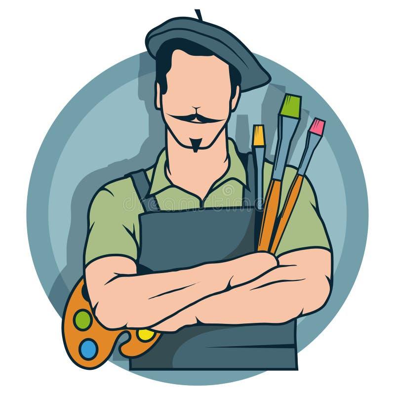 Pintor feliz del artista, logotipo del pintor del artista, ilustraciones del vector stock de ilustración