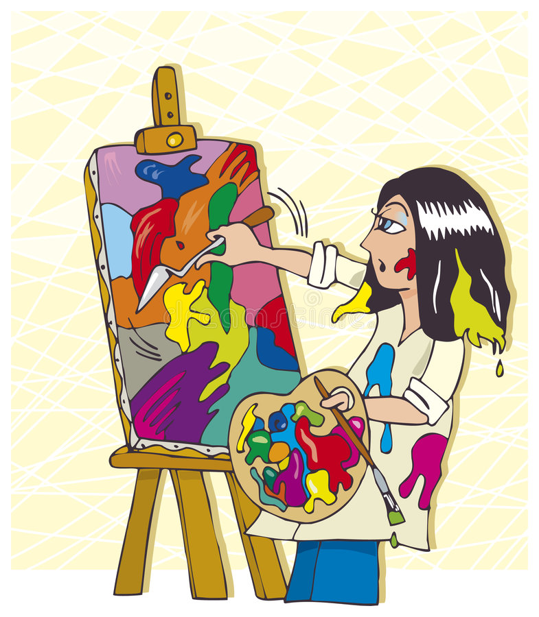 Pintor joven stock de ilustración