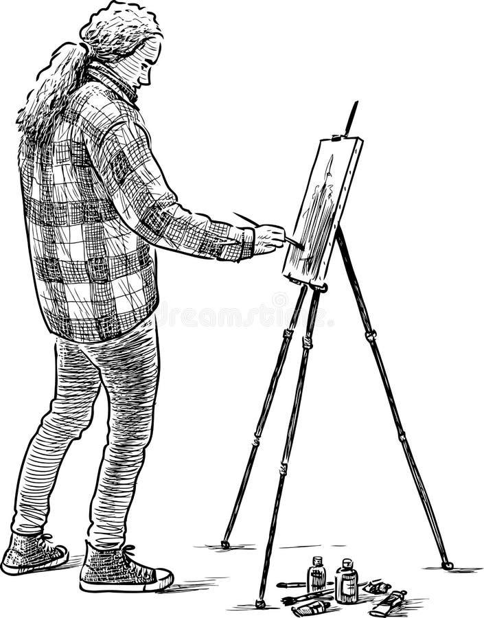 pintor joven en el trabajo ilustración del vector