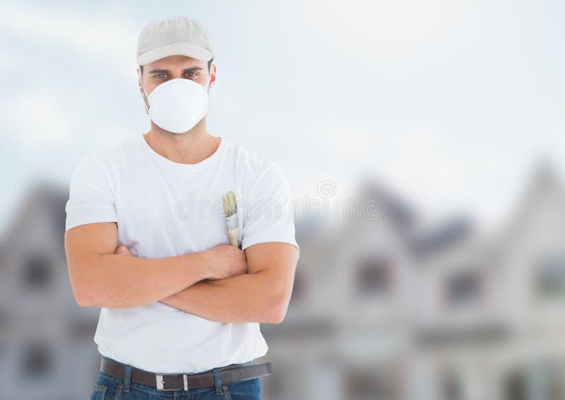 Pintor no terreno de construção imagens de stock