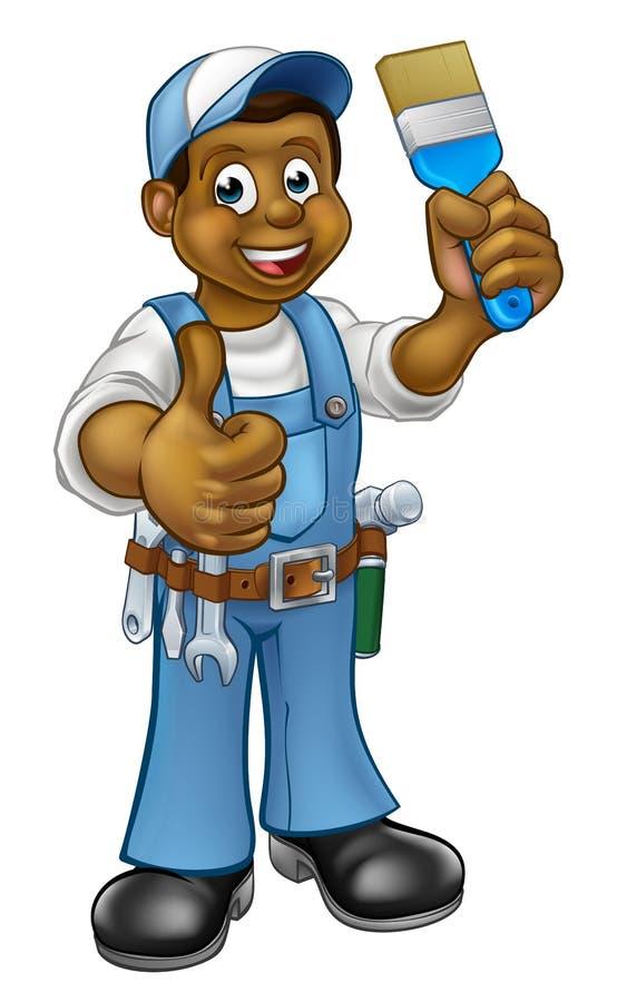Pintor preto Decorator Cartoon Character ilustração do vetor