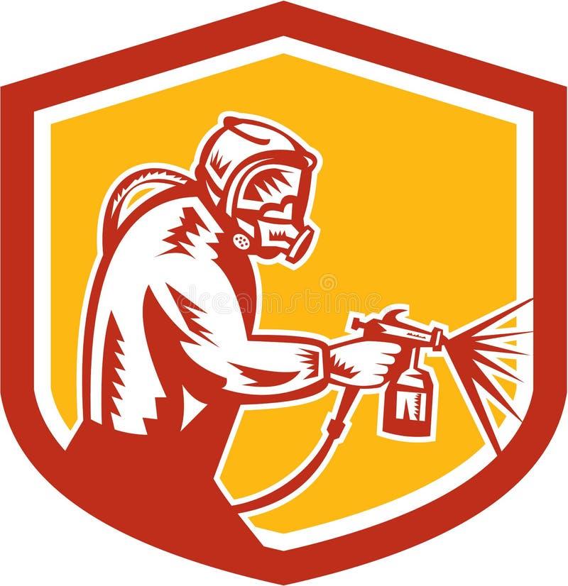 Pintor Spraying Shield Retro del arma de la pintura de espray ilustración del vector