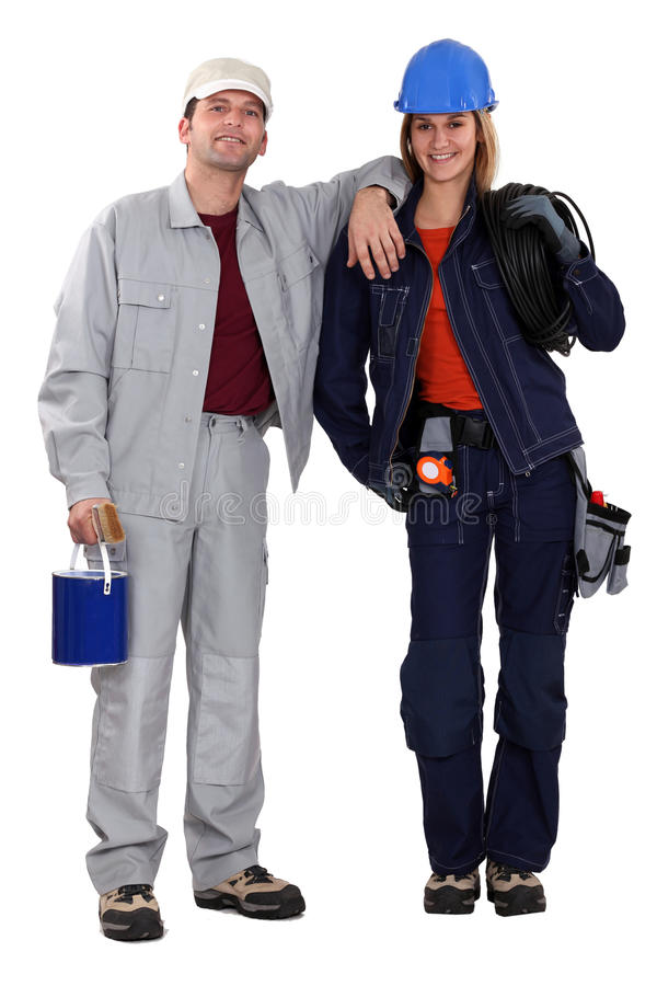 Pintor y electricista fotos de archivo