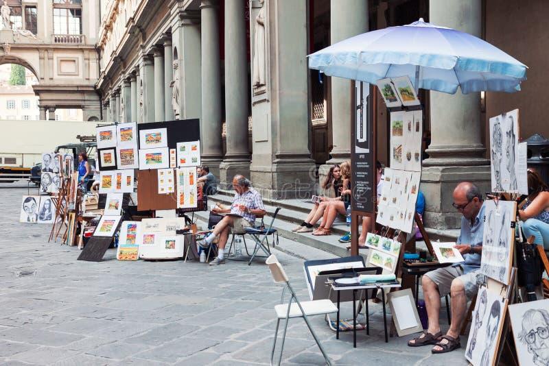Pintores en la calle en Florencia imágenes de archivo libres de regalías