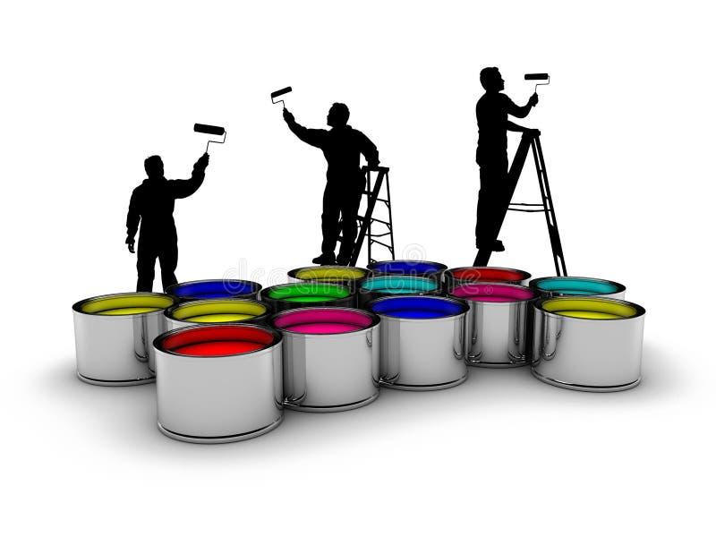 Pintores y colores stock de ilustración
