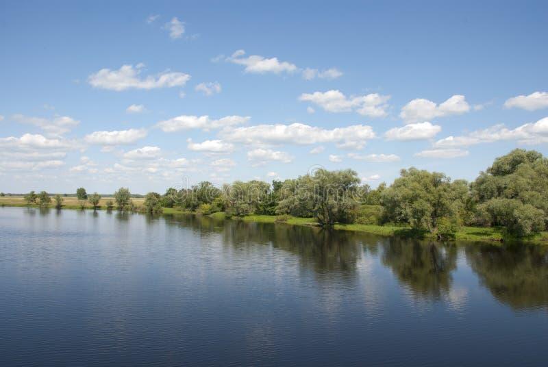 Pintoresco enfrente del banco del río fotografía de archivo