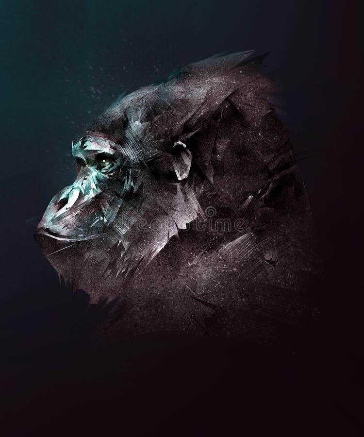 Pintou a cara de um gorila em um fundo escuro no lado ilustração stock
