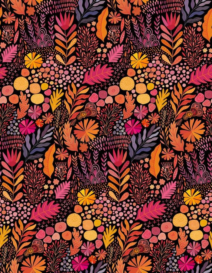 Pintura étnica botánica abstracta inconsútil de la acuarela del vector Impresión hecha a mano artística del batik, materia textil stock de ilustración