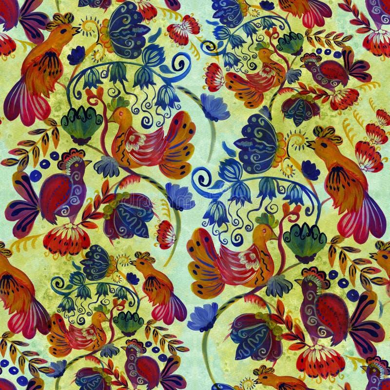Pintura étnica ucraniana Pintura de Petrikovskaya Composição da flor Flores estilizados Fundo sem emenda Use materiais impressos ilustração stock