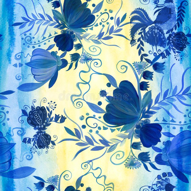 Pintura étnica ucraniana Pintura de Petrikovskaya Composição da flor Flores estilizados Fundo sem emenda Use materiais impressos ilustração royalty free