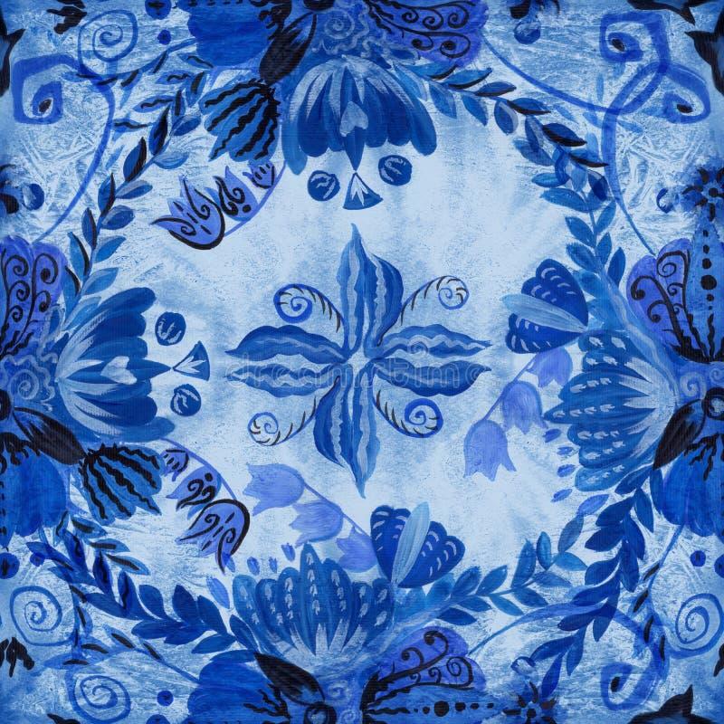 Pintura étnica ucraniana Pintura de Petrikovskaya Composição da flor Flores estilizados Fundo sem emenda Use materiais impressos ilustração do vetor