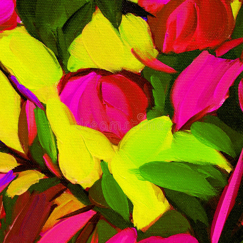 Pintura a óleo abstrata decorativa na lona, ilustração, alinhador longitudinal ilustração royalty free