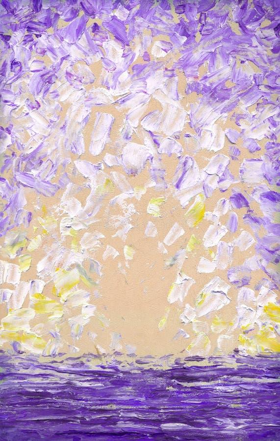 Pintura a óleo abstrata Fundo do céu azul ilustração royalty free