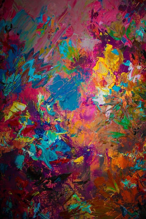 Pintura a óleo abstrata original colorida, fundo foto de stock