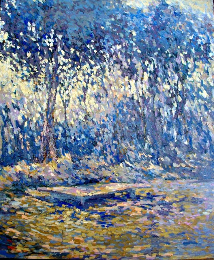 Pintura a óleo agradável do acrílico do trabalho da escova da floresta azul fotos de stock