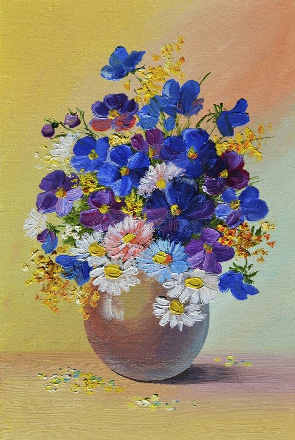 Pintura a óleo - ainda vida, um ramalhete das flores ilustração royalty free