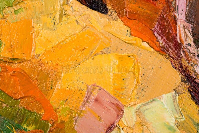 Pintura a óleo amarela abstrata na lona. ilustração royalty free