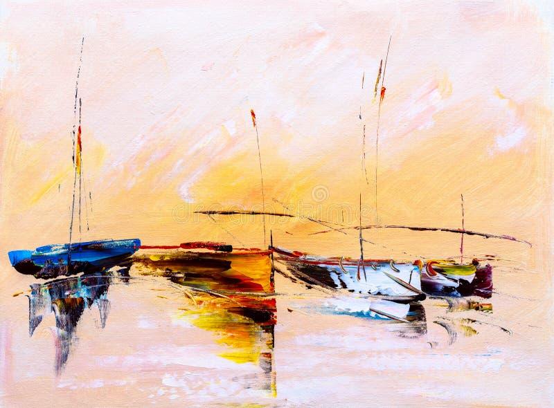 Pintura a óleo - barco ilustração royalty free