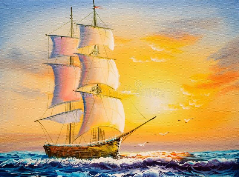 Pintura a óleo - barco de navigação ilustração royalty free