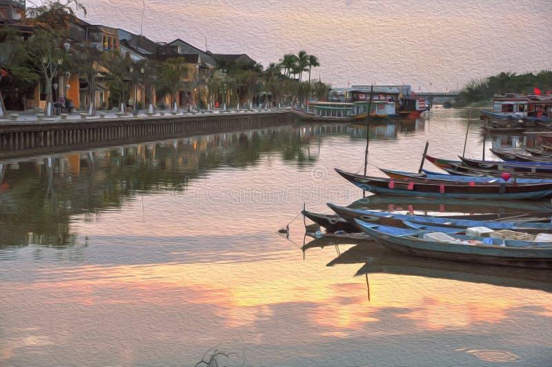 Pintura a óleo bonita de Hoi, Vietname da paisagem imagem de stock royalty free