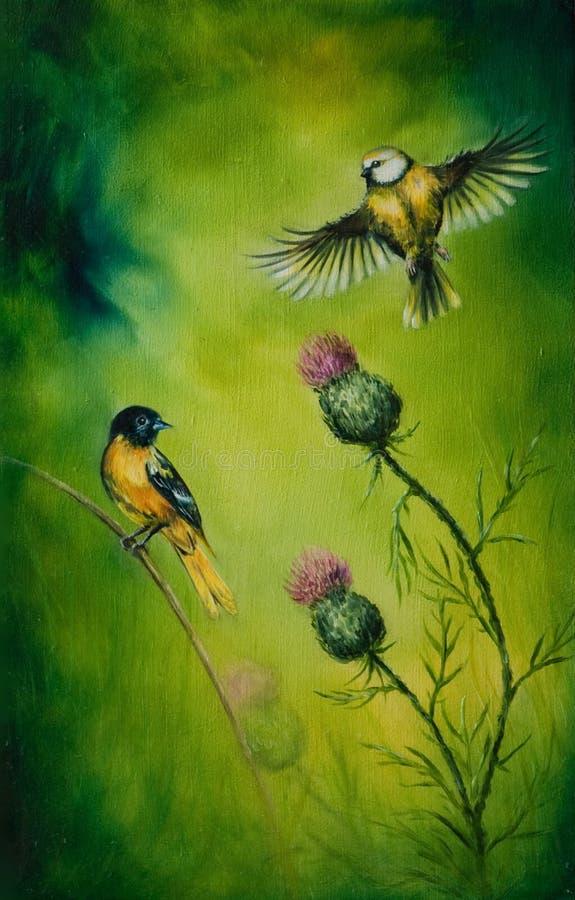 Pintura a óleo bonita na lona de um par de flatteri das aves canoras ilustração do vetor
