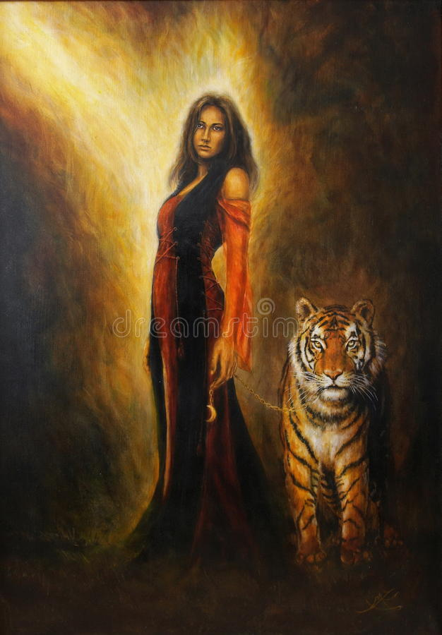 pintura a óleo bonita na lona de uma mulher místico no vestido histórico com um tigre poderoso por seu lado ilustração stock