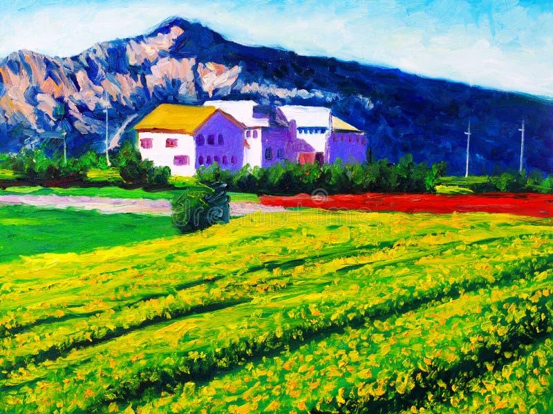 Pintura a óleo - campo ilustração royalty free