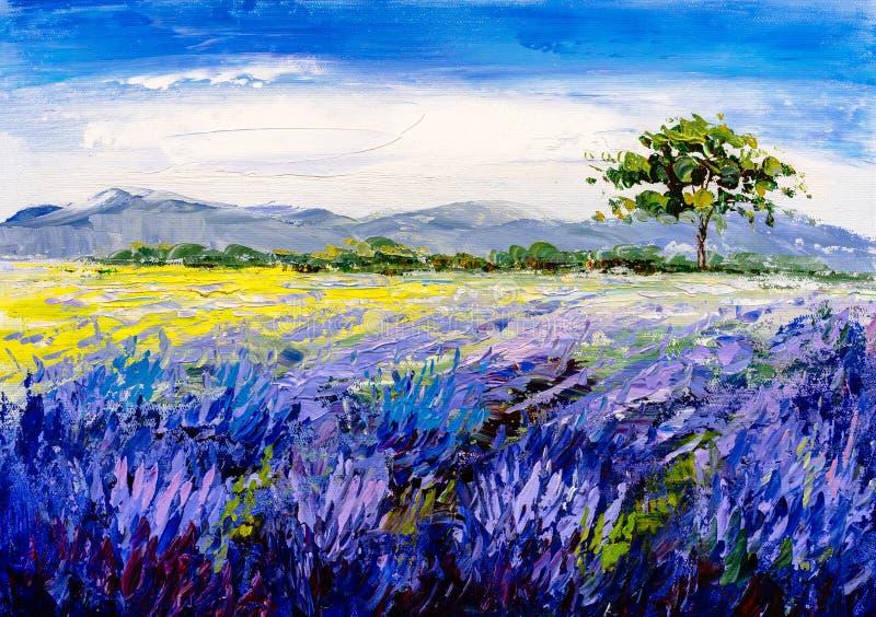 Pintura a óleo - campo da alfazema em Provence, França ilustração royalty free