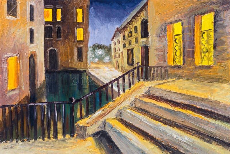 Pintura a óleo, canal em Veneza, Itália, lugar famoso do turista ilustração do vetor