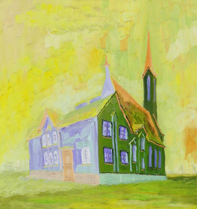 Pintura a óleo Catedral bonita em um dia ensolarado ilustração stock