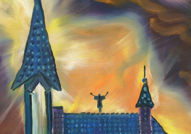 Pintura a óleo Catedral bonita na noite Oração ilustração do vetor
