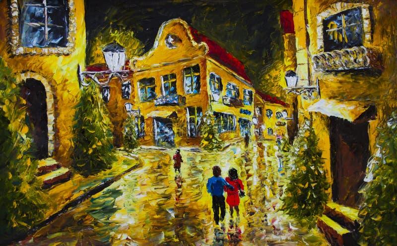 Pintura a óleo - cidade da noite da noite, casas amarelas, luzes brancas, povos com guarda-chuvas, estrada molhada, reflexão ilustração do vetor
