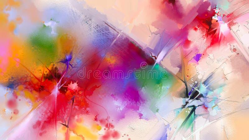 Pintura a óleo colorida abstrata na lona ilustração do vetor