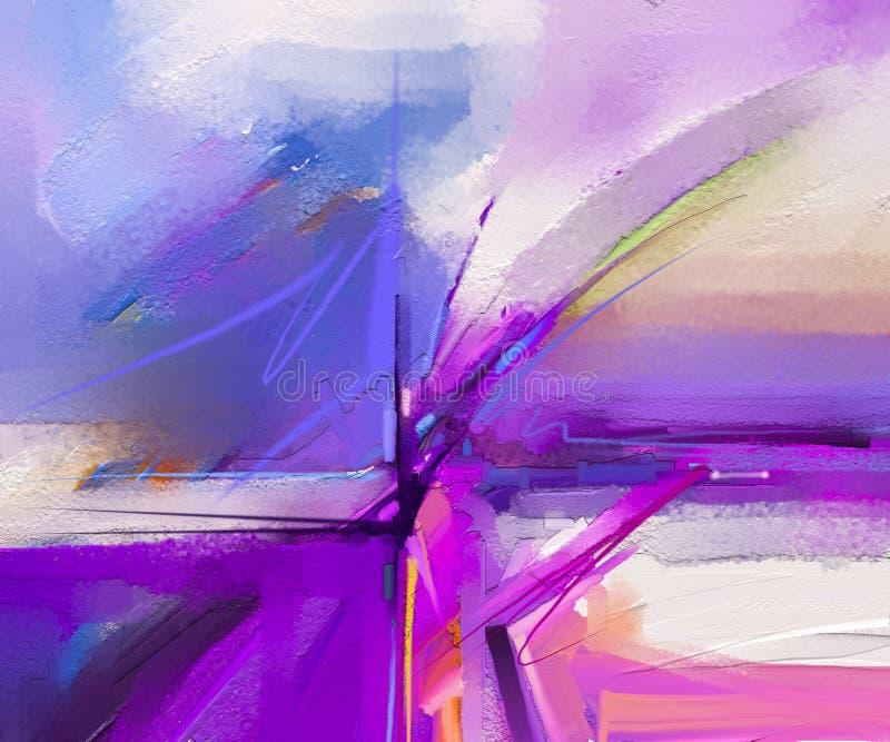 Pintura a óleo colorida abstrata na textura da lona Curso tirado mão da escova, fundo das pinturas da cor de óleo ilustração do vetor