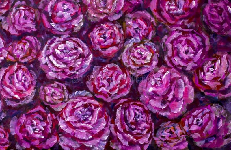 Pintura a óleo cor-de-rosa da textura da peônia das flores violetas vermelhas Fundo pintado à mão abstrato das flores imagens de stock royalty free