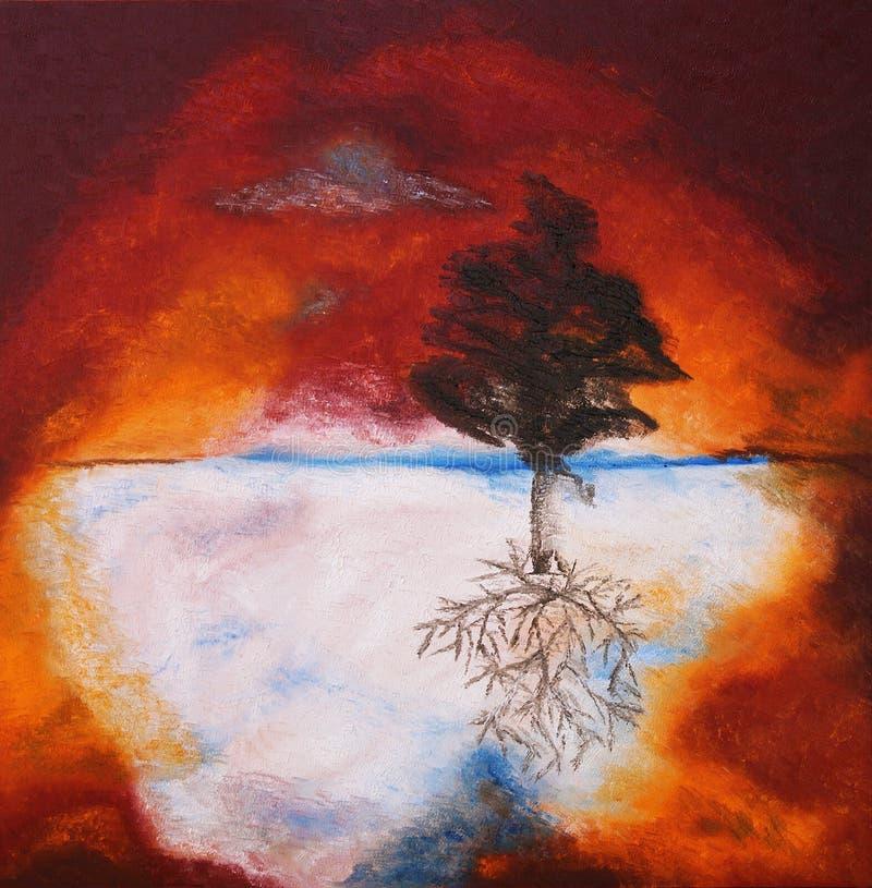 Pintura a óleo da árvore de encontro ao céu do por do sol