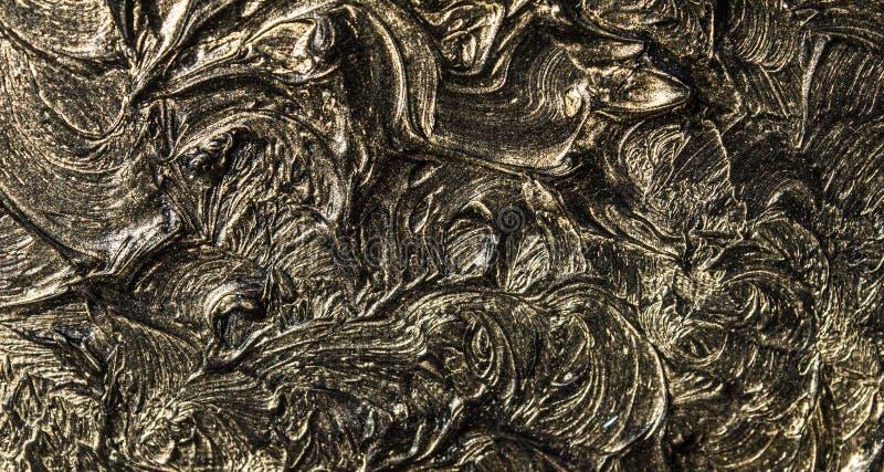 pintura a óleo da arte Enegreça o ouro retrato 3d Abstração volumétrico Textura Fundo ilustração stock