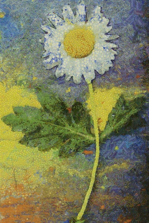 Pintura a óleo da flor da camomila ilustração royalty free